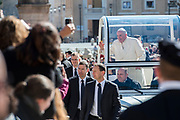 Vatican March 21; 2018 - Pope Francis greets the faithful upon his arrival in St. Peter's square at the Vatican for his weekly general audience