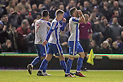 Brighton & Hove Albion centre forward Tomer Hemed (10) scores a goal 2-0 and celebrates during the The FA Cup match between Brighton and Hove Albion and Milton Keynes Dons at the American Express Community Stadium, Brighton and Hove, England on 7 January 2017.