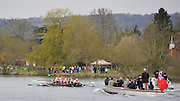 Henley. United Kingdom. Cambridge, Lightweight men's eight leading Oxford,  as both crews pass, Upper Thames RC.  2014 Henley Boat Race, Henley Reach, Annual Women's Boat Race.  River Thames; Sunday  - 30/03/2014  [Mandatory Credit;  Intersport Images],