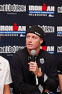 Luke Mackenzie (AUS). Official Pre-Race Press Conference. 2012 Ironman Melbourne. Asia-Pacific Championship. Hosted By USM Events. 22/03/2012. Photo By Lucas Wroe.