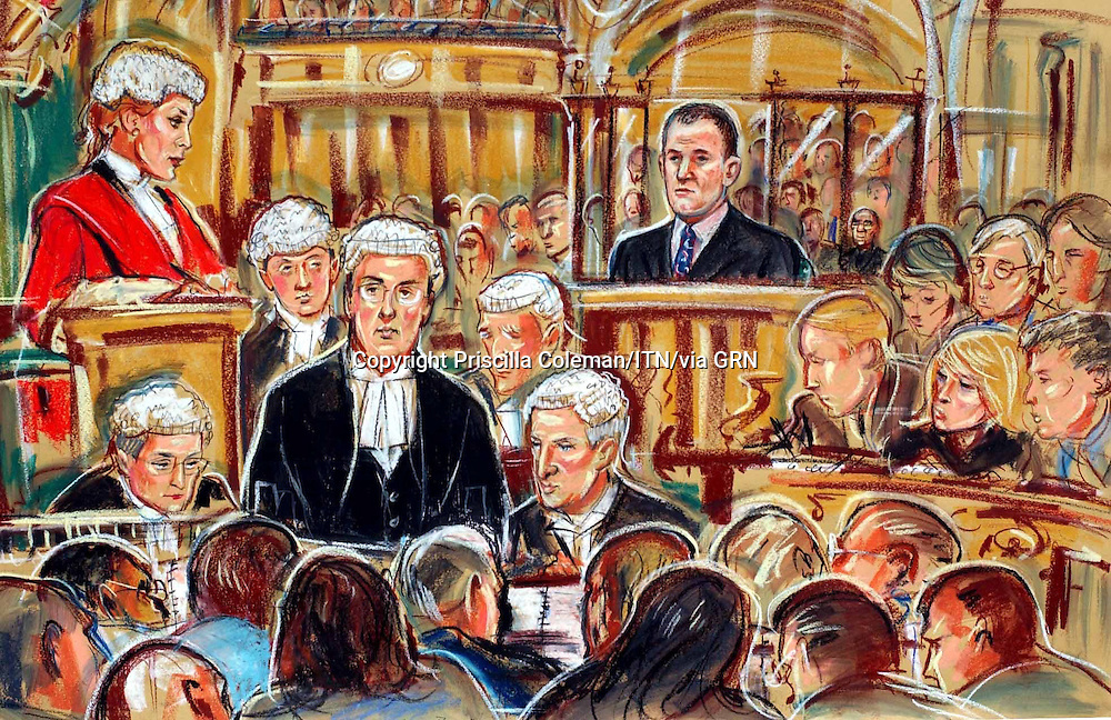 (COPYRIGHT) PRISCILLA COLEMAN.SUPPLIED BY: PHOTONEWS SERVICE LTD OLD BAILEY.PIC SHOWS: (RIGHT) FORMER ROYAL BUTLER PAUL BURRELL ON TRIAL AT THE OLD BAILEY FOR THEFT FROM THE PRINCESS DIANA ESTATE. THE CASE IS BEING HEARD BY, MRS JUSTICE ANNE RAFFERTY-SEE STORY.ILLUSTRATION: PRISCILLA COLEMAN