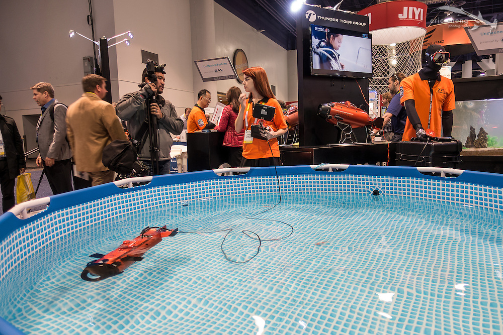 The demo video for the Seawolf ROV had someone scubadiving behind it while driving it with an underwater remote. It was very funny! CES 2016, Las Vegas.