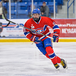 OAKVILLE, ON  - FEB 23,  2018: Ontario Junior Hockey League game between the Oakville Blades and the Toronto Jr. Canadiens, Brendan Hoffman #91 of the Toronto Jr. Canadiens follows the play during the third period.<br /> (Photo by Ryan McCullough / OJHL Images)