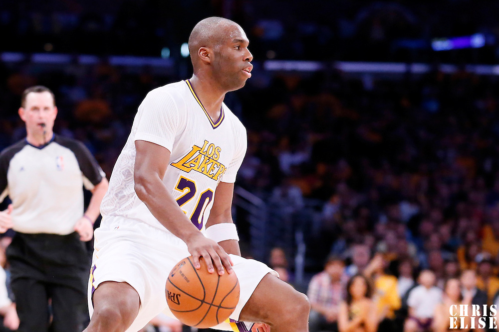09 March 2014: Los Angeles Lakers shooting guard Jodie Meeks (20) dribbles during the Los Angeles Lakers 114-110 victory over the Oklahoma City Thunder at the Staples Center, Los Angeles, California, USA.