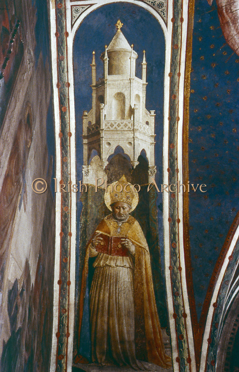 St Ambrose'.  Fra Angelico (Guido di Pietro/Giovanni da Fiesole c1400-55) Italian painter. Fresco. Chapel of Nicholas V, Vatican Palace.