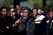 Hamburg | 01 May 2015<br /> <br /> 4000 protesters take part in the &quot;Never Mind The Papers&quot; rally for migrants and refugees in the german city of Hamburg. Picture shows a man who fled from Africa to Europe via Lampedusa making a speech.<br /> <br /> &copy;peter-juelich.com<br /> <br /> [Foto honorarpflichtig | Fees Apply | No Model Release | No Property Release]