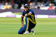 Fidel Edwards of Hampshire not sure what to think as the Somerset opening batsmen score freely during the Royal London 1 Day Cup Final match between Somerset County Cricket Club and Hampshire County Cricket Club at Lord's Cricket Ground, St John's Wood, United Kingdom on 25 May 2019.