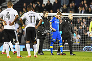 Leeds United Midfielder Eunan O'Kane (14) get substituted due to injury during the EFL Sky Bet Championship match between Fulham and Leeds United at Craven Cottage, London, England on 3 April 2018. Picture by Stephen Wright.