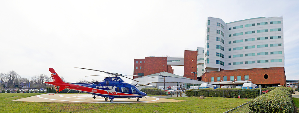 Panorama of University of of Virginia Hospital and helicopter, Charlottesville, Virginia, United States