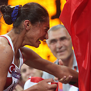 Gamze Bulut, Turkey winning the Silver Medal in the Women's 1500m Final at the Olympic Stadium, Olympic Park, during the London 2012 Olympic games. London, UK. 10th August 2012. Photo Tim Clayton