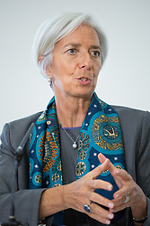 Image ©Licensed to i-Images Picture Agency. 06/06/2014. London, United Kingdom. Christine Lagarde answers journalist questions about global economy and UK economy recovery at HM Treasury. Picture by Daniel Leal-Olivas / i-Images