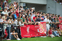 ZUG, SWITZERLAND - Wednesday, July 21, 2010: Liverpool's Swiss supporters watch the Reds' in action against Grasshopper Club Zurich during the first preseason match of the 2010/2011 season at the Herti Stadium. (Pic by David Rawcliffe/Propaganda)