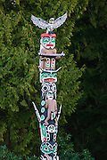 First Nations totem pole Ga'akstalas of the Kwakwaka'wakw Culture, carved by Wayne Alfred and Beau Dick on design by Russell Smith; Stanley Park, Vancouver, British Columbia, Canada..EDITORIAL USE ONLY