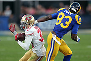 San Francisco 49ers rookie cornerback Rashard Robinson (33) intercepts a fourth quarter pass intended for Los Angeles Rams wide receiver Brian Quick (83) during the 2016 NFL week 16 regular season football game against the Los Angeles Rams on Saturday, Dec. 24, 2016 in Los Angeles. The 49ers won the game 22-21. (©Paul Anthony Spinelli)