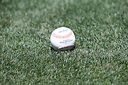 ANAHEIM, CA - JUNE 5:  A baseball lies on the grass before the Los Angeles Angels of Anaheim game against the Chicago Cubs on Wednesday, June 5, 2013 at Angel Stadium in Anaheim, California. The Cubs won the game 8-6 in ten innings. (Photo by Paul Spinelli/MLB Photos via Getty Images)