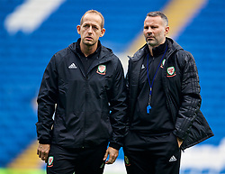 CARDIFF, WALES - Thursday, November 15, 2018: Wales' manager Ryan Giggs (R) with physiotherapist James Haycock during a training session at the Cardiff City Stadium ahead of the UEFA Nations League Group Stage League B Group 4 match between Wales and Denmark. (Pic by David Rawcliffe/Propaganda)