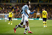 Raheem Sterling (7) of Manchester City celebrates a goal (1-2) during the EFL Cup match between Oxford United and Manchester City at the Kassam Stadium, Oxford, England on 18 December 2019.