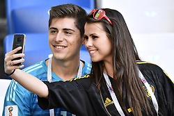 June 28, 2018 - Kaliningrad, RUSSIA - Courtois' brother Gaetan Courtois and Courtois' sister in law Kirsten Briers pictured before a soccer game between Belgian national soccer team the Red Devils and England, Thursday 28 June 2018 in Kaliningrad, Russia, the third and last in Group G of the FIFA World Cup 2018. BELGA PHOTO DIRK WAEM (Credit Image: © Dirk Waem/Belga via ZUMA Press)