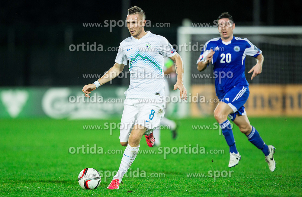 Jasmin Kurtic of Slovenia during football match between National teams of San Marino and Slovenia in Group E of EURO 2016 Qualifications, on October 12, 2015 in Stadio Olimpico Serravalle, Republic of San Marino. Photo by Vid Ponikvar / Sportida