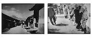 L:  Naxi woman carries water.  Baisha, Yunnan, China.  1997 ..R:  Uighur elder getting a haircut and a shave at the animal market.  Yopchan, Chinese Turkestan.  2002