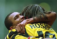 Fotball: Bundesliga 2001/2002. v.l.  Marcio AMOROSO , Tomas ROSICKY  Jubel  1:0<br />       Borussia Dortmund - Bayer 04 Leverkusen 1:1