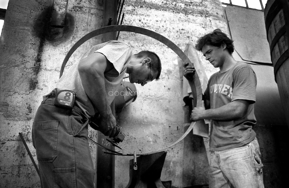 Welding an iron circle.