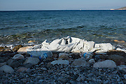 Remains of rubber boat that brought refugees from Syria to the Greek island of Chios. As soon as they landed they slit the boat to prevent them being sent back out to sea. Each boat brought 50 refugees across the Aegean from Turkey, a five hour crossing.
