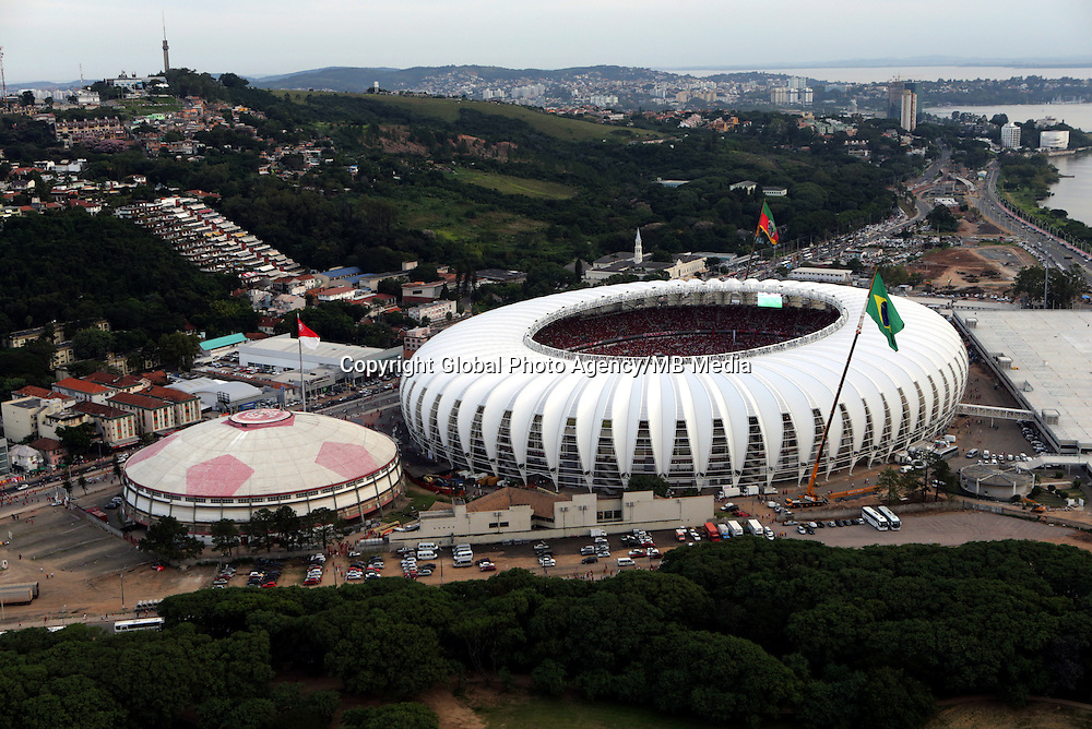Football Fifa World Cup Brazil 2014 / <br /> Porto Alegre - Rio Grande do Sul - Brazil - <br /> Sc Internacional vs Ca Penarol 2-1 , Opening Match of New &quot; BEIRA RIO STADIUM &quot; on Porto Alegre - Rio Grande Do Sul / Brazil , <br /> Ready for the next FIFA World Cup Brazil 2014  , and able to accommodate a capacity of 48.849 Spectators .<br /> ( Panoramic View of  BEIRA RIO STADIUM )