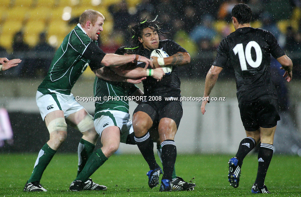 Ma'a Nonu looks for support as he is spun in a tackle. All Blacks v Ireland. First rugby test, Westpac Stadium, Wellington, New Zealand. Saturday 07 June 2008. Photo: PHOTOSPORT
