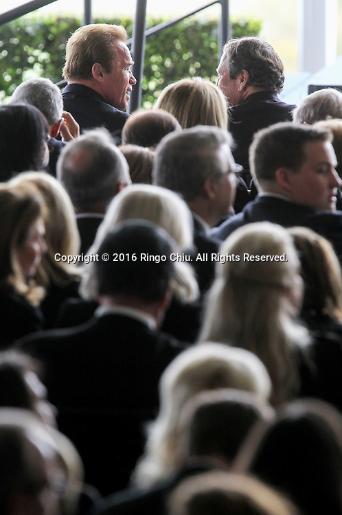 Former gov. Arnold Schwarzenegger attends in a funeral service for the former first lady Nancy Reagan at the Ronald Reagan Presidential Library and Museum in Simi Valley, California on March 11, 2016. Reagan died of congestive heart failure in her sleep at her Bel Air home Sunday at age 94. A bout 1,000 guests from the world of politics attended the final farewell to Nancy Reagan as the former first lady is eulogized and laid to rest next to her husband at his presidential library.<br />    (Photo by Ringo Chiu/PHOTOFORMULA.com)<br /> <br /> Usage Notes: This content is intended for editorial use only. For other uses, additional clearances may be required.