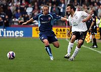 Photo: Mark Stephenson.<br /> Hereford United v Brentford. Coca Cola League 2. 06/10/2007.Hereford's Clint Easton (R)   and  brentford's Sammy Moore