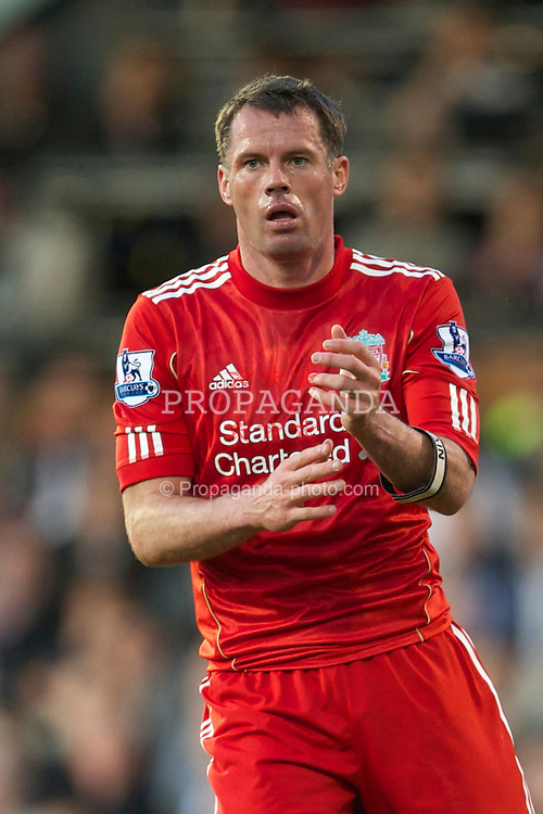 LONDON, ENGLAND - Monday, May 9, 2011: Liverpool's captain Jamie Carragher during the Premiership match against Fulham at Craven Cottage. (Photo by David Rawcliffe/Propaganda)