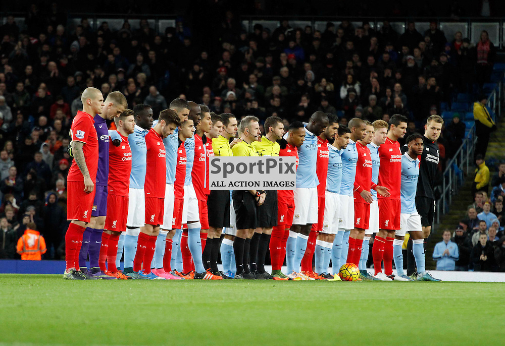 Manchester City and Liverpool unite for the Paris attacks last week during Manchester City vs Liverpool, Barclays Premier League, Saturday 21st November 2015, Etihad Stadium, Manchester