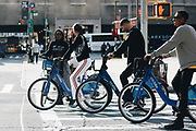 Kendall Jenner and her friends rode by the NYFW venue on CitiBikes, and stopped at a red light.<br /> ©Tori Mumtaz/Exclusivepix Media