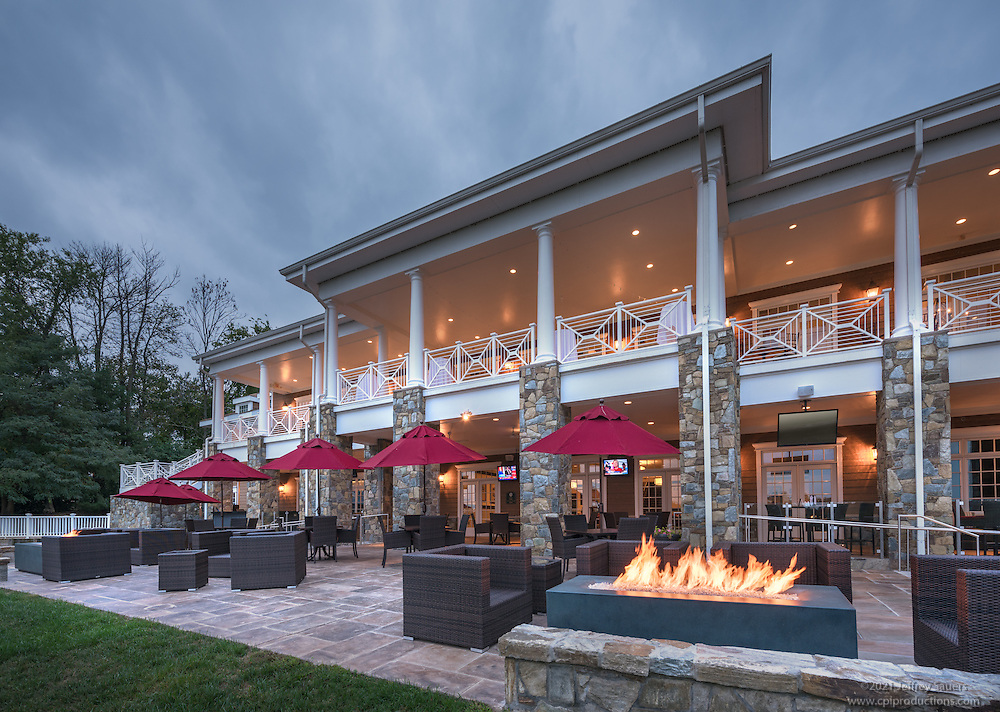 Exterior photo of River Creek Country Club in Leesburg Virginia by Jeffrey Sauers of Commercial Photographics, Architectural Photo Artistry in Washington DC, Virginia to Florida and PA to New England