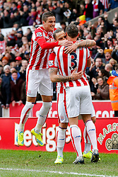 Marko Arnautovic of Stoke City celebrates with Ibrahim Afellay and Erik Pieters after scoring a goal to make it 2-0 - Mandatory byline: Rogan Thomson/JMP - 26/12/2015 - FOOTBALL - Britannia Stadium - Stoke, England - Stoke City v Manchester United - Barclays Premier League - Boxing Day Fixture.