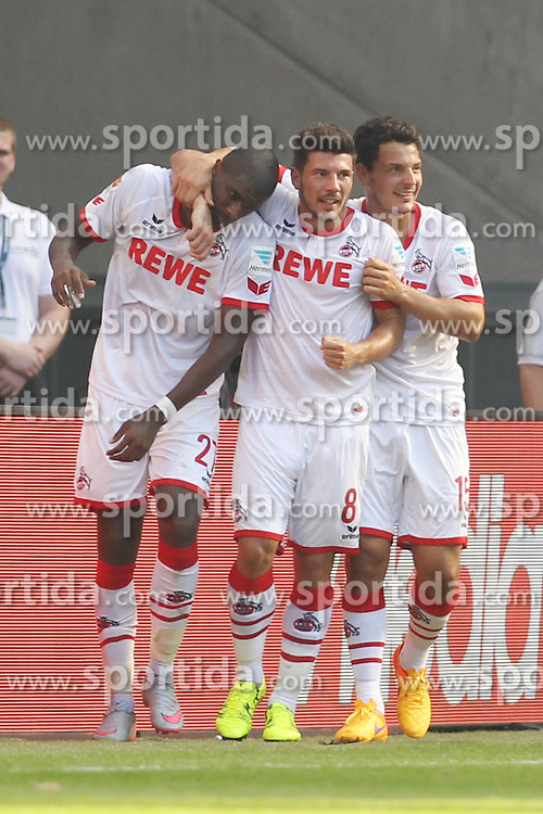 29.08.2015, Rhein Energie Stadion, Koeln, GER, 1. FBL, 1. FC Koeln vs Hamburger SV, 2. Runde, im Bild Anthony Modeste (1. FC Koeln #27) beim Torjubel nach dem Treffer zum 2:1 mit Milos Jojic (1. FC Koeln #8) und Philipp Hosiner (1. FC Koeln #15) // during the German Bundesliga 3rd round match between 1. FC Cologne and Hamburger SV at the Rhein Energie Stadion in Koeln, Germany on 2015/08/29. EXPA Pictures &copy; 2015, PhotoCredit: EXPA/ Eibner-Pressefoto/ Sch&uuml;ler<br /> <br /> *****ATTENTION - OUT of GER*****
