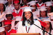 Class vice president Asia Fuqua speaks during the Trotwood-Madison High School commencement at the Victoria Theatre in downtown Dayton, May 29, 2012.