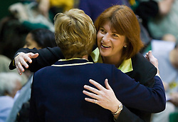 December 22, 2009; San Francisco, CA, USA;  San Francisco Dons head coach Tanya Haave hugs Tennessee Lady Volunteers head coach Pat Summitt before the game at War Memorial Gym.  Tennessee defeated San Francisco 89-34.