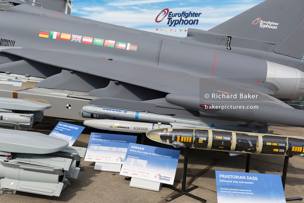 Missile systems for the BAE Systems Typhoon at the Farnborough Airshow, on 16th July 2018, in Farnborough, England.