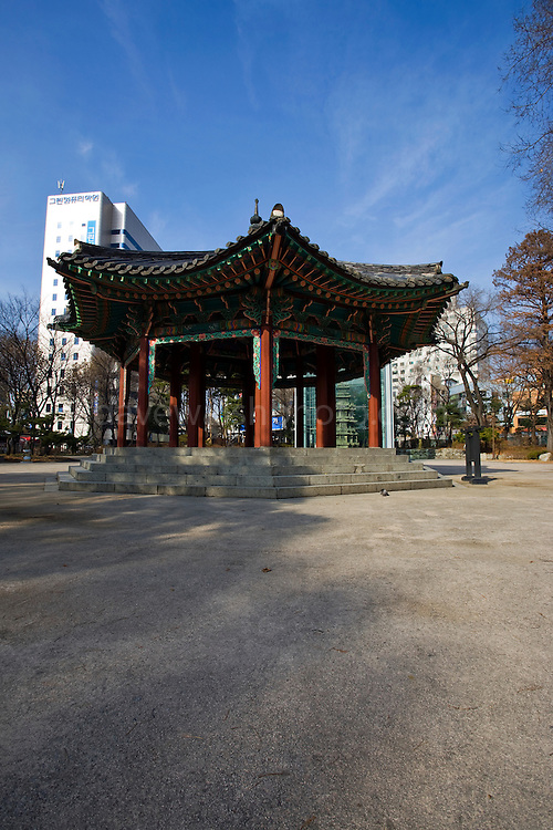 Palgakjeong Pavilion at Tapgol, or Pagoda Park, Seoul, South Korea. This was the site where the Korean Declaration of Independence was read aloud on March 1st, 199 - and the start of March First Independence Movement.