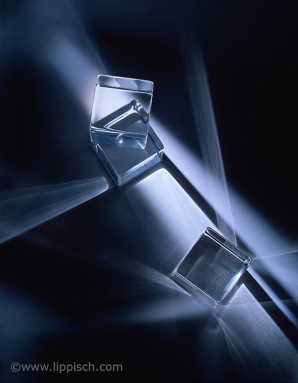 Clear plexi cubes used in a lighting test.