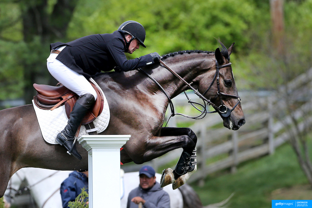 NORTH SALEM, NEW YORK - May 15: Peter Leone, USA, riding Wayfarer, in action during The $50,000 Old Salem Farm Grand Prix presented by The Kincade Group at the Old Salem Farm Spring Horse Show on May 15, 2016 in North Salem. (Photo by Tim Clayton/Corbis via Getty Images)