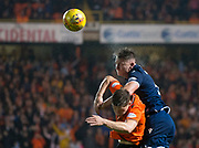 30th August 2019; Dens Park, Dundee, Scotland; Scottish Championship, Dundee Football Club versus Dundee United; Josh Meekings of Dundee competes in the air with Cammy Smith of Dundee United