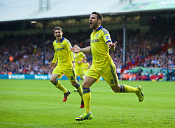 18.10.2014, Selhurst Park Stadium, London, ENG, Premier League, FC Crystal Palace vs FC Chelsea, 8. Runde, im Bild Chelsea's Cesc Fabregas celebrates scoring the second goal against Crystal Palace // 15054000 during the English Premier League 8th round match between Crystal Palace FC and Chelsea FC at the Selhurst Park Stadium in London, Great Britain on 2014/10/18. EXPA Pictures © 2014, PhotoCredit: EXPA/ Propagandaphoto/ David Rawcliffe<br /> <br /> *****ATTENTION - OUT of ENG, GBR*****