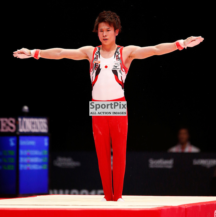 2015 Artistic Gymnastics World Championships being held in Glasgow from 23rd October to 1st November 2015.....Kazuma Kaya (Japan) competing in the Still Rings competition..(c) STEPHEN LAWSON | SportPix.org.uk