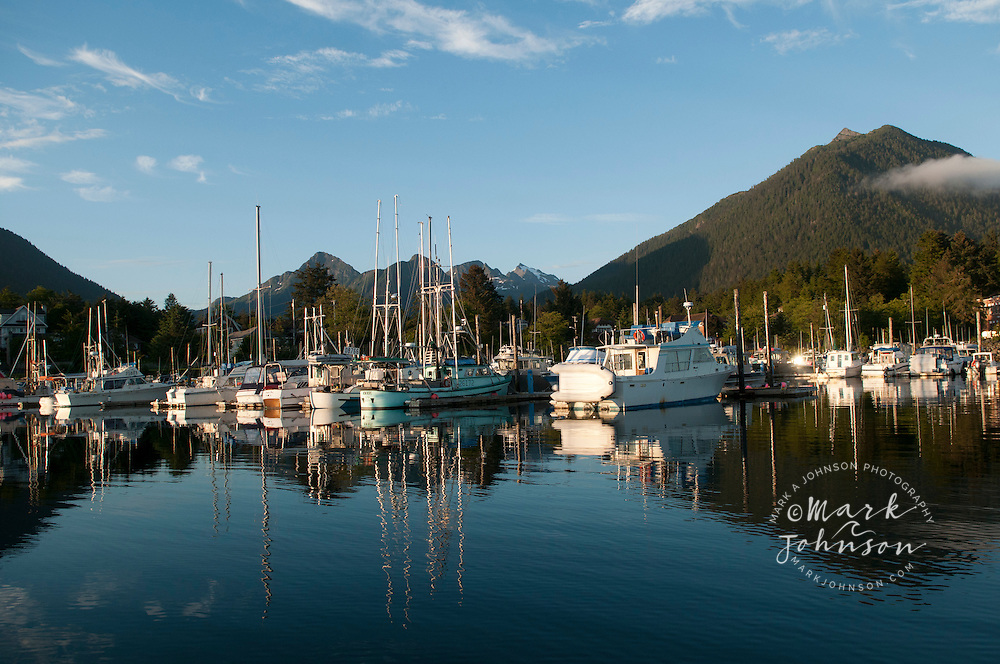 Boats moored at Crescent Harbor, Sitka, Alaska