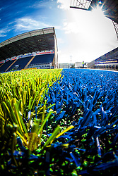 Picture of the new plastic pitch at The Falkirk Stadium, for the Scottish Championship game v Hamilton. The woven GreenFields MX synthetic turf and the surface has been specifically designed for football with 50mm tufts compared with the longer 65mm which has been used for mixed football and rugby uses.  It is fully FFA two star compliant and conforms to rules laid out by the SPL and SFL.<br />