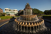 Waterfront park and pineapple fountain in the historic district of Charleston, SC.