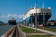 Ships passing through the Miraflores Locks, Panama Canal, Panama
